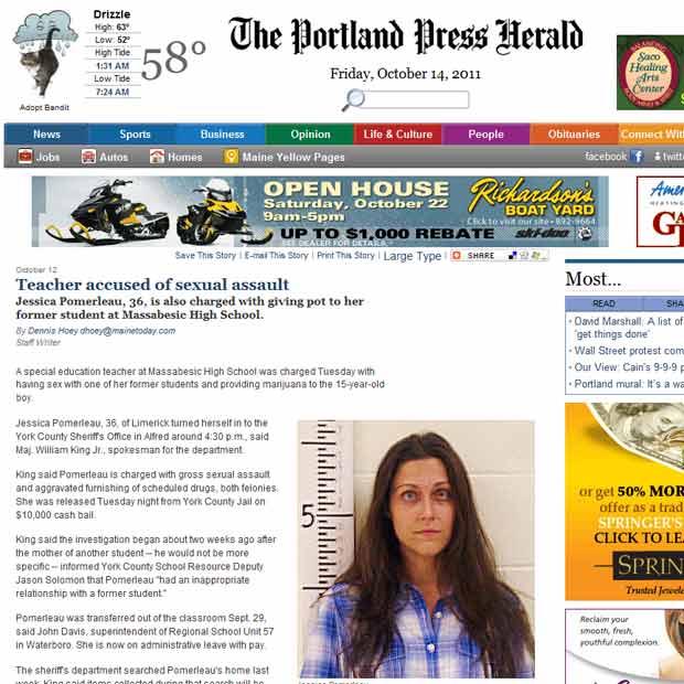 A professora Jessica Pomerleau em foto divulgada pela imprensa local (Foto: Reprodução)