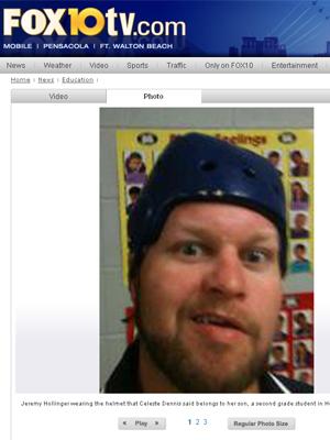 Foto de Jeremy com o capacete (Foto: Reprodução)