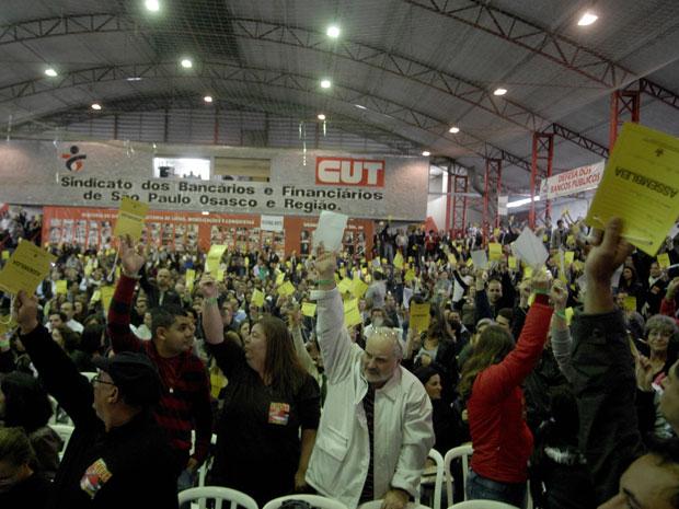 Bancários de São Paulo aceitaram na noite desta segunda-feira a proposta da Fenaban (Foto: Anderson Barbosa/Agência Estado)