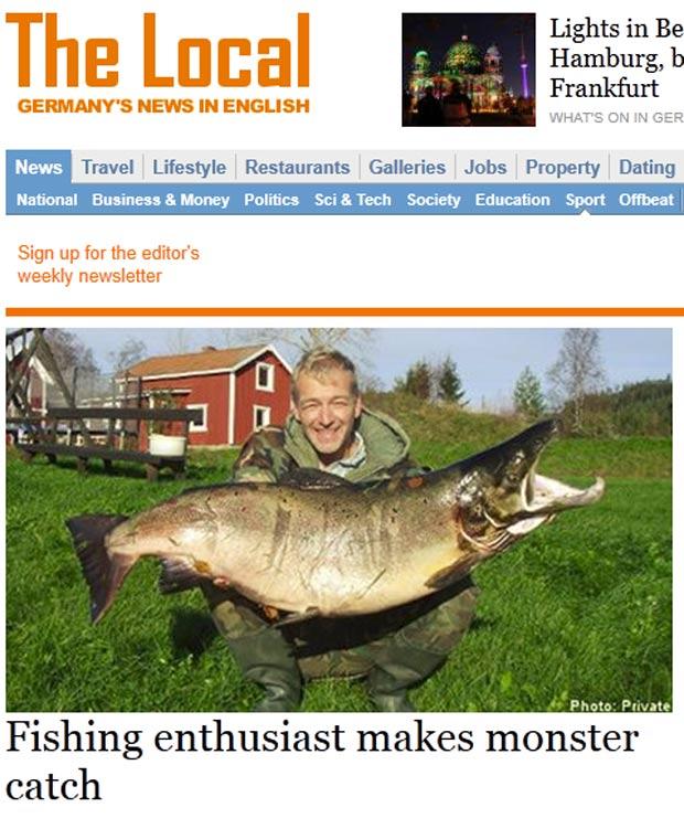 Uwe Lehrer pescou um salmão de 29 quilos na Suécia. (Foto: Reprodução)