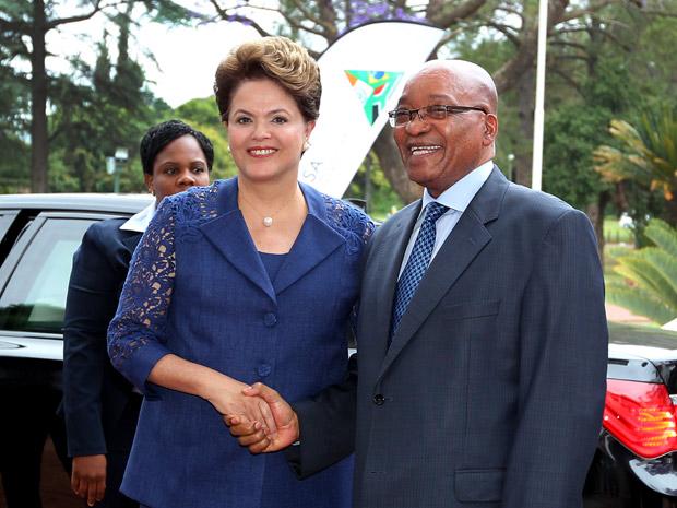 Dilma com Jacob Zuma nesta terça-feira (18) (Foto: Roberto Stuckert Filho / Presidência)