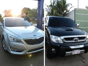 Dois carros luxuosos foram apreendidos com Polegar (Foto: Divulgação/ Secretaría Nacional Antidrogas Dirección de Comunicación Social)