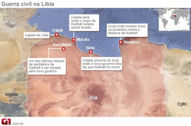 Mapa mostra os principais locais da guerra civiil líbia após a morte kadhafi (Foto: Editoria de Arte/G1)