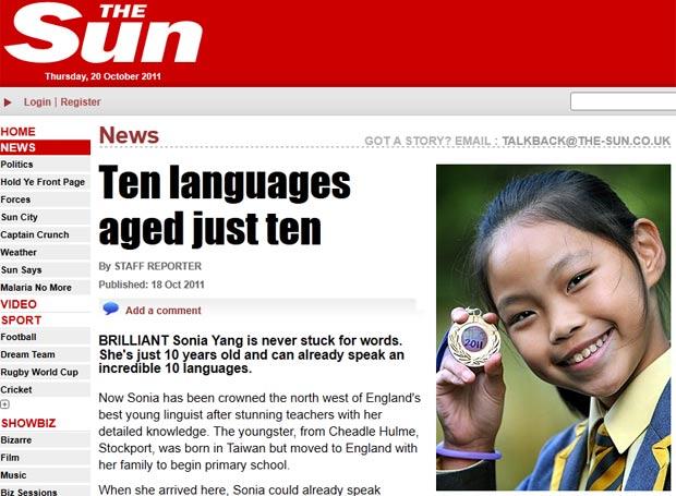 Sonia Yang fala dez idiomas, incluindo português. (Foto: Reprodução/The Sun)
