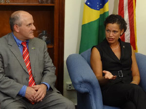 Richard Cavalieri of the FBI and Usha Pitts, the U.S. Consul in Northern Brazil pictured during a meeting Thursday October 20 at the U.S. Consulate in Recife