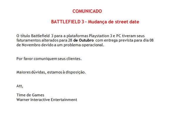Warner enviou comunicado para varejistas avisando sobre o atraso na entrega dos games (Foto: Reprodução)