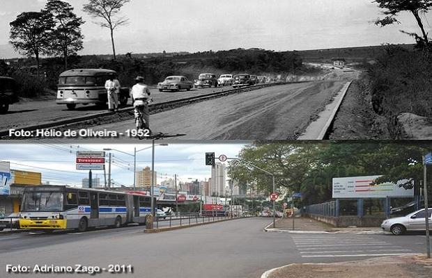 Comparativo da Avenida Anhanguera para aniversário de Goiânia (Foto: Adriano Zago - Hélio de Oliveira)