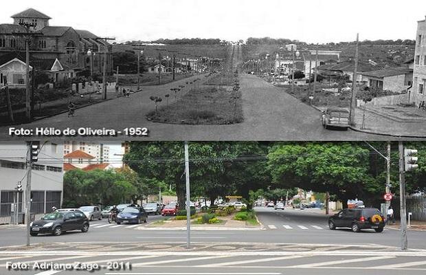 Comparativo da Avenida Universitária para o aniversário de Goiânia (Foto: Adriano Zago - Hélio de Oliveira)