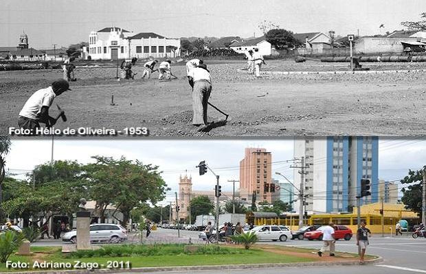 Comparativo do cruzamento da Avenida Paranaiba com Avenida Goiás para o aniversário de Goiânia (Foto: Adriano Zago - Hélio de Oliveira)