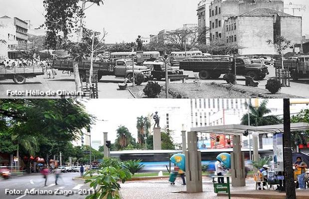 Comparativo Praça do Bandeirante para o aniversário de Goiânia (Foto: Adriano Zago - Hélio de Oliveira)