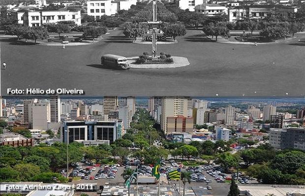 Comparativo da Praça Cívica e Avenida Goiás para o aniversário de Goiânia (Foto: Adriano Zago - Hélio de Oliveira)