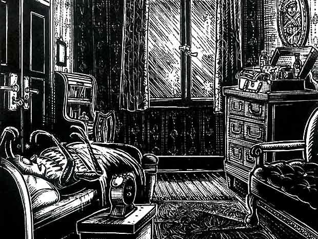 Detalhe da adaptação para os quadrinhos de 'A metamorfose', de Franz Kafka, desenhada por Peter Kuper (Foto: Reprodução)