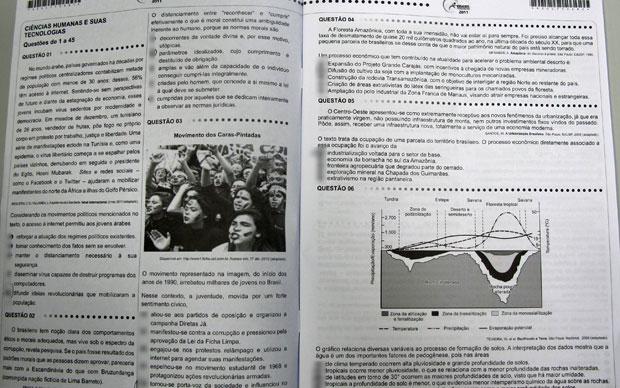 Primeiras páginas da prova de ciências humanas de um candidato do Enem (Foto: G1)