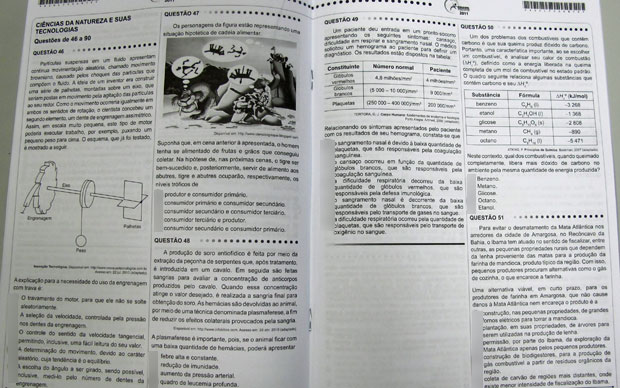 Primeiras páginas da prova de ciências da natureza de um candidato do Enem (Foto: G1)