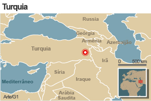 mapa terremoto turquia 23/10 (Foto: Arte G1)
