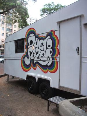 Trailler do programa Quero Fazer no Largo do Arouche, centro de São Paulo (Foto: Tadeu Meniconi/G1)