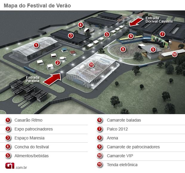 Mapa Festival de Verão com Legenda (Foto: G1)