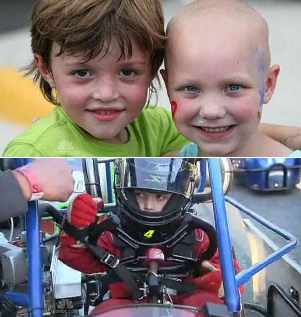 Mini e a amiga Ella, acima, quando a menina ainda tinha câncer. O jovem participa de corridas todos os sábados (Foto: Reprodução/NBC)
