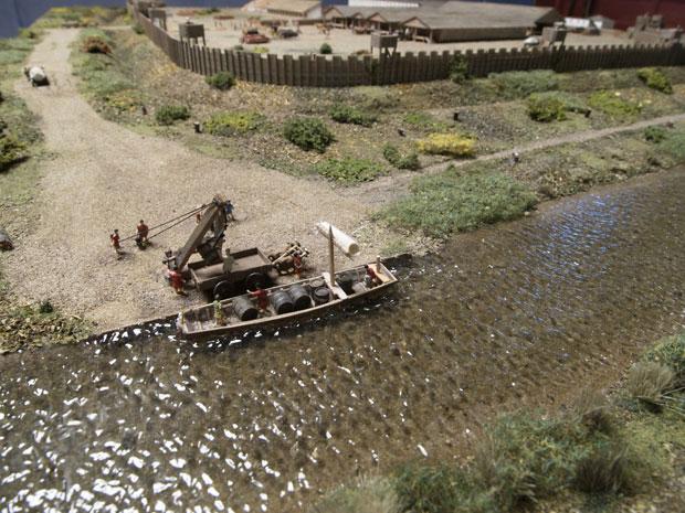 Arqueólogos montaram maquete de como seria o acampamento romano às margens do Lippe (Foto: LWL/Brentführer/Divulgação)