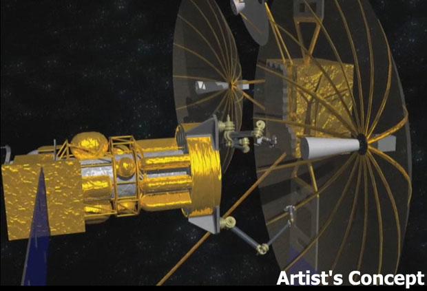 Ilustração de como seria uma nave capaz de reciclar satélites (Foto: Darpa)