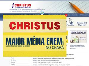 Site da escola Christus, que teria distribuído material com questões do Enem, destaca desempenho no exame (Foto: Reprodução)