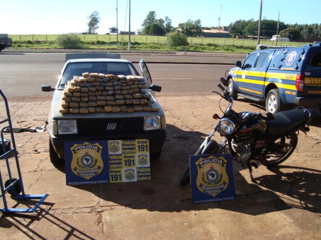 Trio é preso com quase 80 kg de maconha na região de fronteira de MS (Foto: Divulgação/PRF)