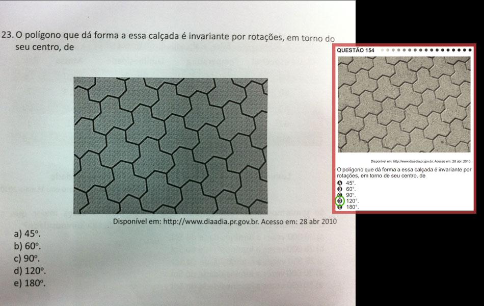 Matemática - questão idêntica à de nº 154 da prova amarela. Em destaque, a mesma questão na apostila do Enem