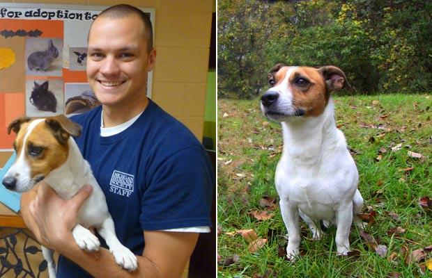 Aaron Jerome, funcionário do abrigo de animais, segura 'Petey'. (Foto: Michigan Humane Society/AP)