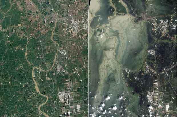 Satélite da Nasa mostra inundação na cidade tailandesa de Ayutthaya (Foto: Reuters/Nasa)