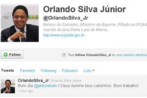Reprodução do perfil de Orlando Silva no Twitter (Foto: Reprodução)