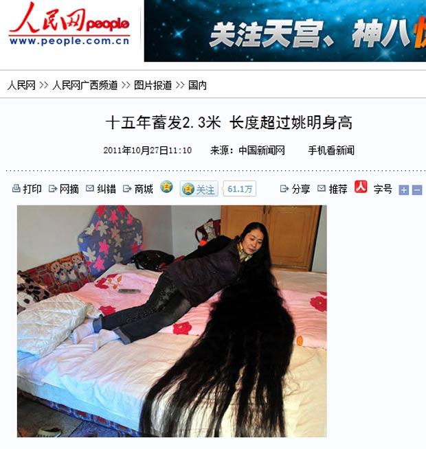 Liu Chun ostenta um cabelo de 2,3 metros de comprimento. (Foto: Reprodução)