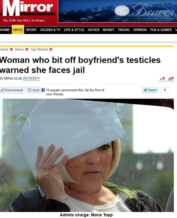 Maria Topp mordeu e arrancou pedaço dos testículos do namorado. (Foto: Reprodução/Daily Mirror)