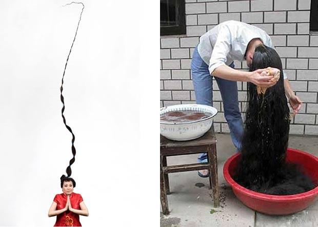 A chinesa Xie Qiuping tem o maior cabelo do mundo. Quando entrou para o Guinness (livro dos recordes), suas madeixas mediam 5,627 metros de comprimento, mais de três vezes a sua altura. Ela deixa seu cabelo crescer desde 1973 quando tinha 13 anos. (Foto: Reprodução)  (Foto: Reprodução/Guinness)