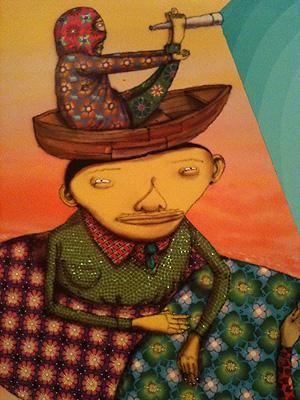 Detalhe de obra da exposição Fermata, de OsGemeos, no Espírito Santo (Foto: Amanda Monteiro/ G1 ES)