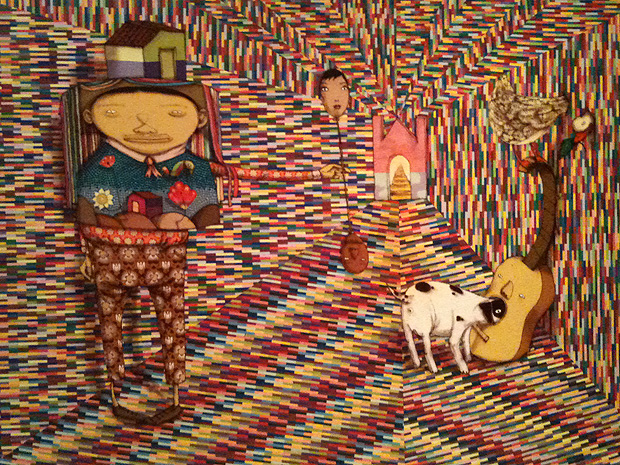 'O homem que imaginou sem pensar', obra inédita de OsGemeos, em exposição no Espírito Santo (Foto: Amanda Monteiro / G1 ES)