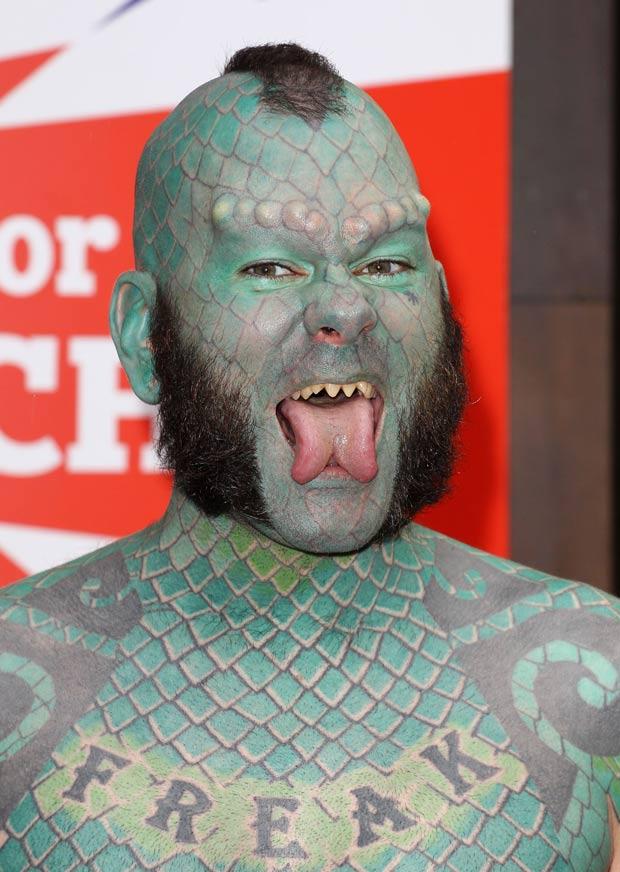 Erik Sprague é conhecido como 'homem-lagarto'. (Foto: Fred Duval/WireImage/Getty Images)