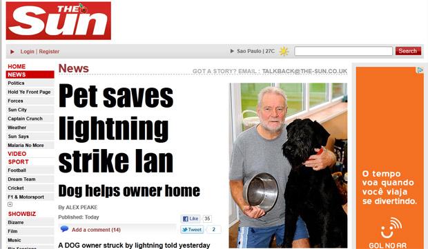 Em foto do 'The Sun', Ian aparece com o cão Monty  (Foto: Reprodução)