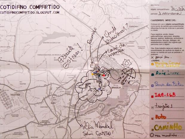 Mapa preenchido por pessoa que pegou a bicicleta por uma semana (Foto: Reprodução)