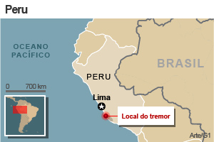 mapa terremoto peru (Foto: Editoria de arte / G1)