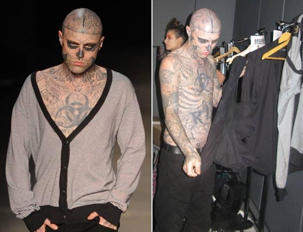 O canadense Rick Genest é conhecido como 'garoto-zumbi'. Ele se transformou, por meio de tatuagens, em um 'esqueleto vivo'. Ele chegou a desfilar no Fashion Rio Verão. (Foto: Raul Zito/G1)