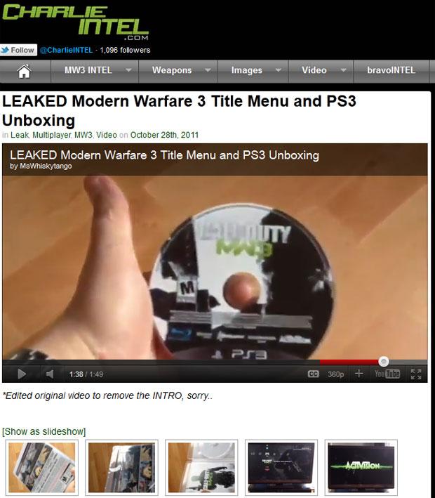 Site publicou vídeo com usuário jogando 'Modern Warfare 3' antes do lançamento (Foto: Reprodução)
