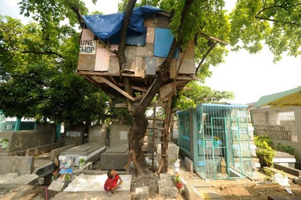 Uma família construiu uma casa em cima de árvore no cemitério municipal de Pasay, ao sul de Manila, nas Filipinas.  (Foto: Noel Celis/AFP)