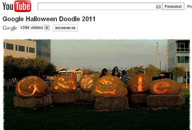 Google criou logo especial com seis abóboras gigantes para celebrar o Halloween (Foto: Reprodução)