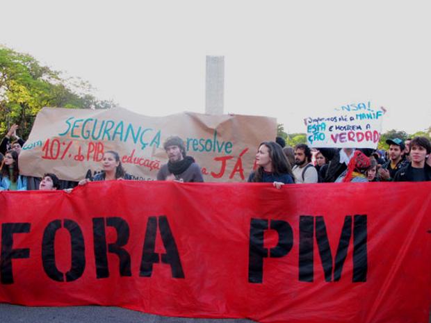 Presença da Polícia Militar na Cidade Universitária é o principal alvo de protesto por parte de estudantes da Faculdade de Filosofia, Letras e Ciências Humanas da Universidade de São Paulo (USP) (Foto: Raphael Prado/G1)