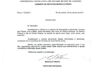 Ofício enviado à secretaria pelo deputado Marcelo Freixo (Foto: Divulgação/Secretaria de Segurança Pública)