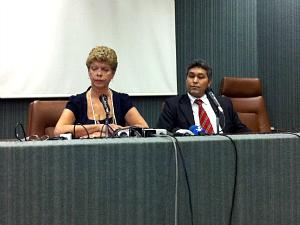 A presidente do Inep durante coletiva à imprensa. (Foto: André Teixeira/G1 Ceará)