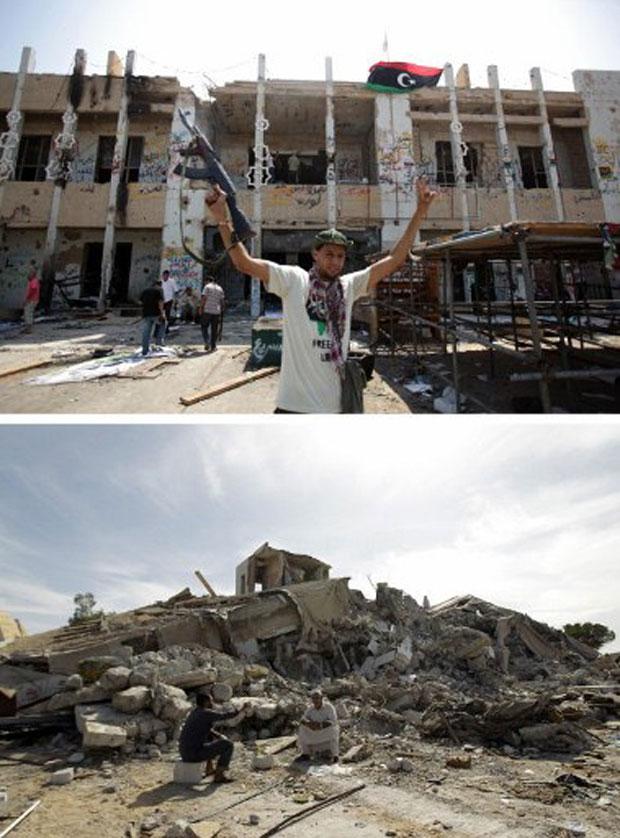Prédio e detroços são vistos do mesmo ângulo em imagens de 27 de agosto (cima) e desta terça-feira, 1º de novembro, em Trípoli (Foto: AFP)