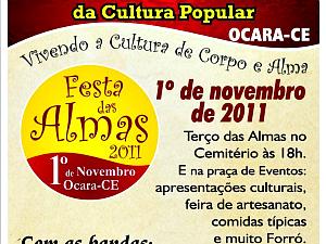 Panfleto de divulgação da festa das almas, em Ocara. (Foto: Prefeitura de Ocara/Divulgação)
