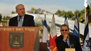 Premiê israelense Netanyahu com o ministro da Defesa Ehud Barak. (Foto: Getty Images)