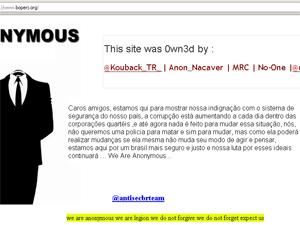 Site oficial do Bope foi invadido por hackers (Foto: Reprodução / Internet)